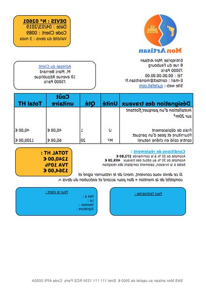Exemple Devis Parquet Devis Menuiserie En Ligne